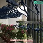 Ban công 3m2 ngập tràn các loại hoa nhờ có giàn phơi thông minh