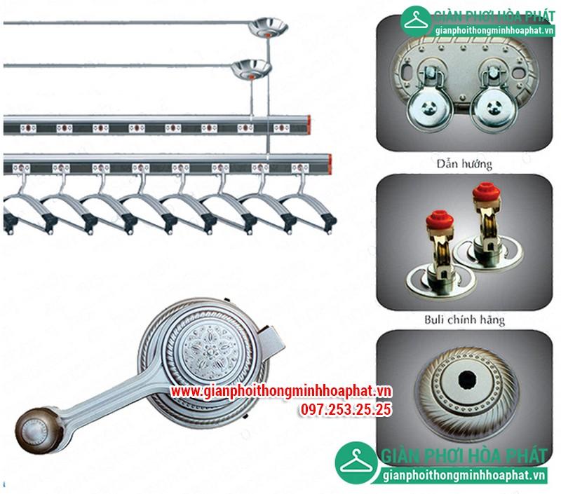 Giàn phơi thông minh Hòa Phát HP1602 với thanh phơi được làm bằng chất liệu hợp kim nhôm.