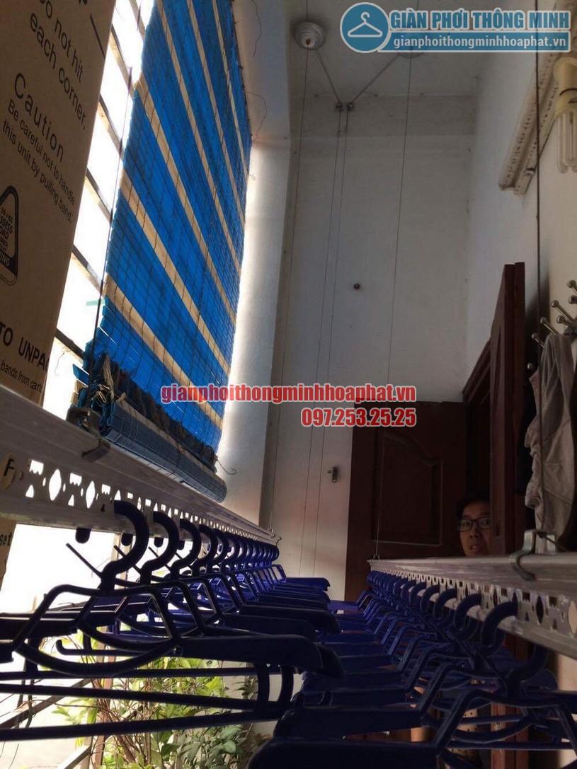 Bộ ròng rọc giàn phơi được gắn cố định trên trần bê tông -02