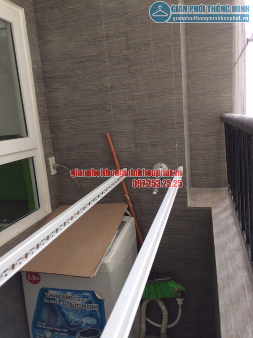 Lắp giàn phơi và lưới an toàn ban công nhà chú Tuyến quận Ba Đình, Hà Nội-01