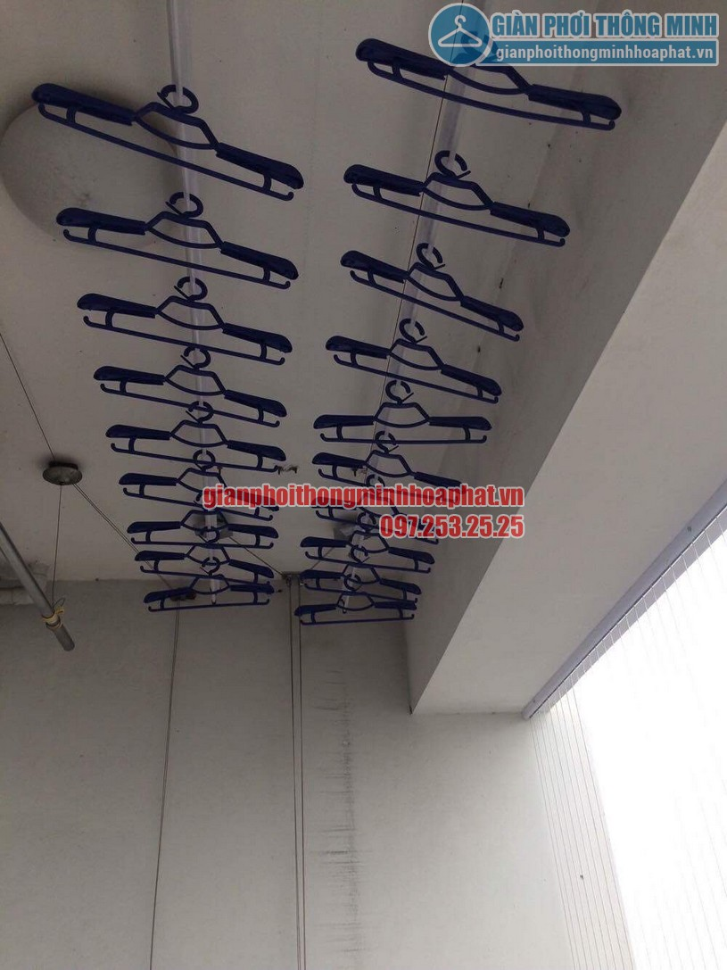 Lắp giàn phơi và lưới an toàn ban công nhà chú Thắng P6 tầng 14 Tháp A, Hà Thanh, Thái Thịnh-05
