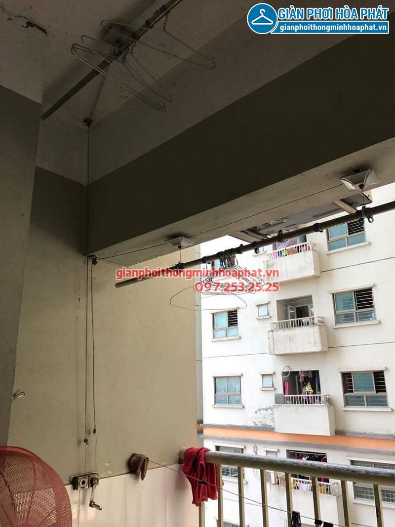 Bộ giàn phơi Hòa Phát giá rẻ nhà chị Hà sau khi thay dây cáp mới