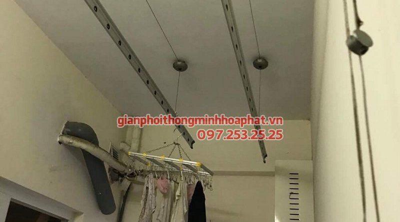 Thay dây cáp giàn phơi thông minh nhà chị Tình ở chung cư C14 - Bộ Công an
