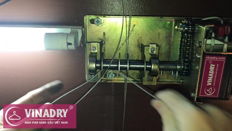 Hình ảnh thực tế đi dây cáp cho hộp máy của giàn phơi bấm điện tự động