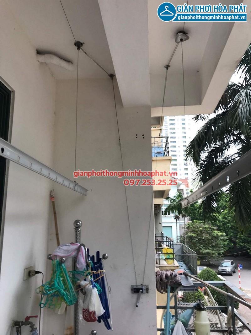 Giàn phơi quần áo nhà chị Ninh sau khi được thay dây cáp inox mới