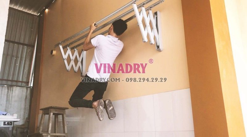 Lắp giàn phơi xếp tường Hòa Phát giá rẻ nhà anh Mạnh, Hà Đông, Hà Nội - 01