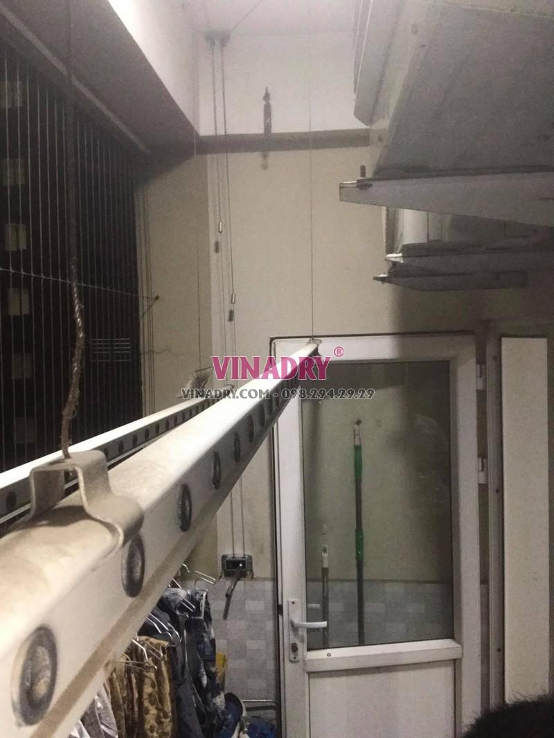 Thay dây cáp, bộ tời giàn phơi thông minh Minh Khai: Nhà chị Lan, chung cư 250