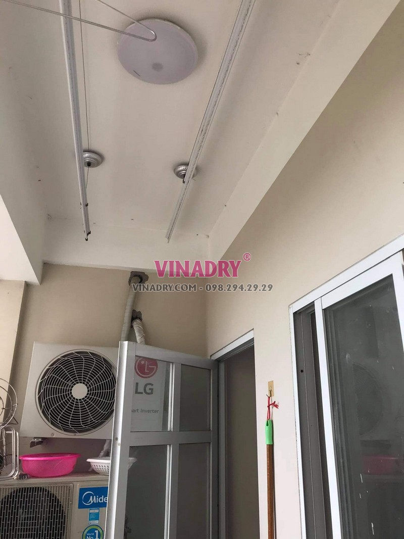 Sửa giàn phơi tại Long Biên, thay dây cáp giá rẻ nhà chị Mai, chung cư CT2B Thạch Bàn - 01