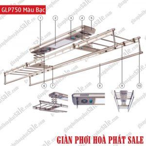 Giàn phơi điện tử điều khiển GLP750 màu bạc
