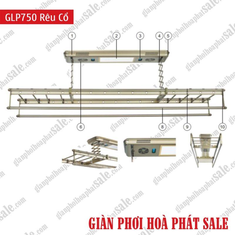 Giàn phơi điện tử điều khiển GLP750 Rêu cổ