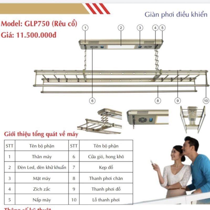 Giàn phơi điện tử điều khiển từ xa GLP750 rêu cổ
