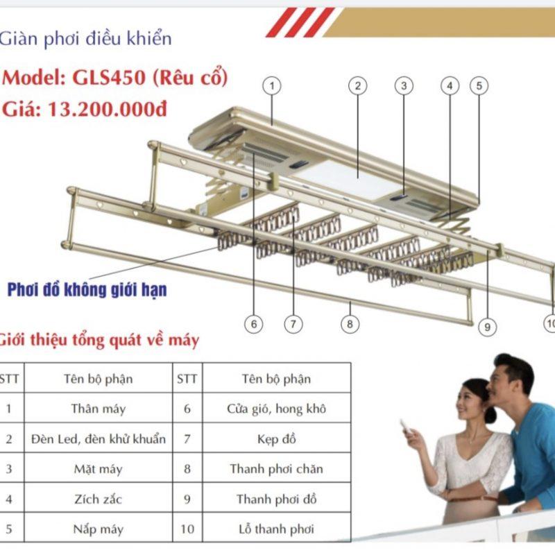 Giàn phơi điện tử điều khiển từ xa GLS450 rêu cổ