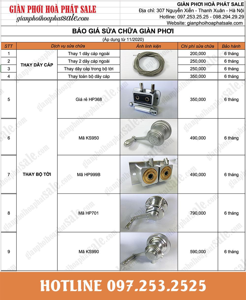 Báo giá sửa chữa thay thế linh kiện giàn phơi thông minh tại Hà Nội và TP.HCM