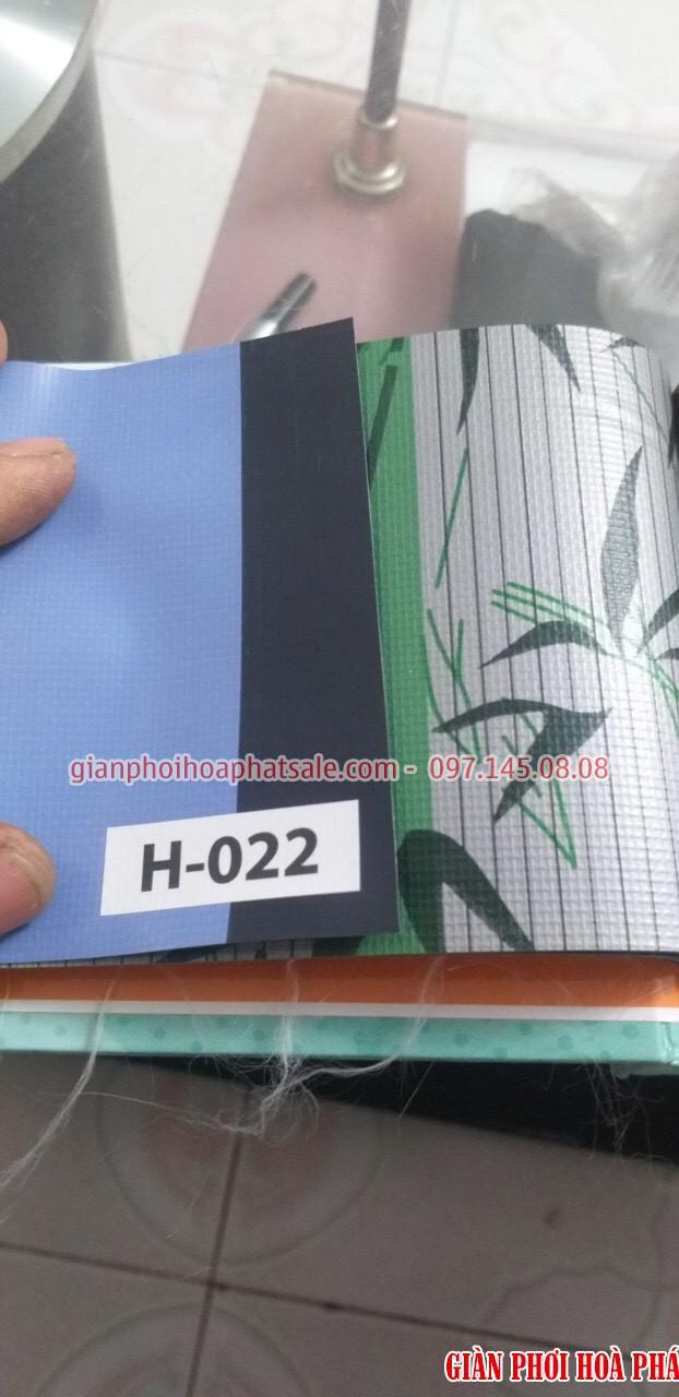 Mẫu bạt che nắng ban công 1 mặt màu xanh than, 1 mặt họa tiết hoa văn kẻ sọc - H022