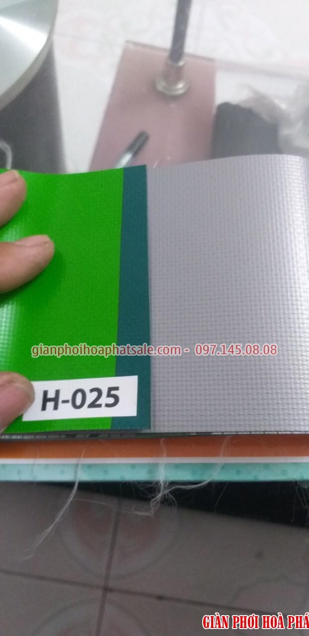 Mẫu bạt che nắng H025: 1 mặt màu xanh lá cây, 1 mặt màu xám cản quang