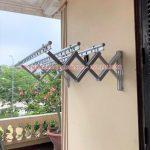 Lắp giàn phơi gắn tường kéo ngang loại tốt tại nhà chị Mỹ, Long Biên