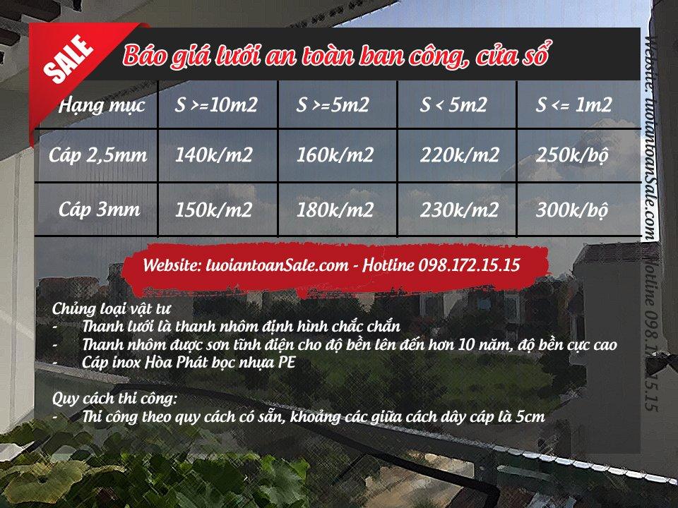 Báo giá lưới an toàn ban công Hòa Phát